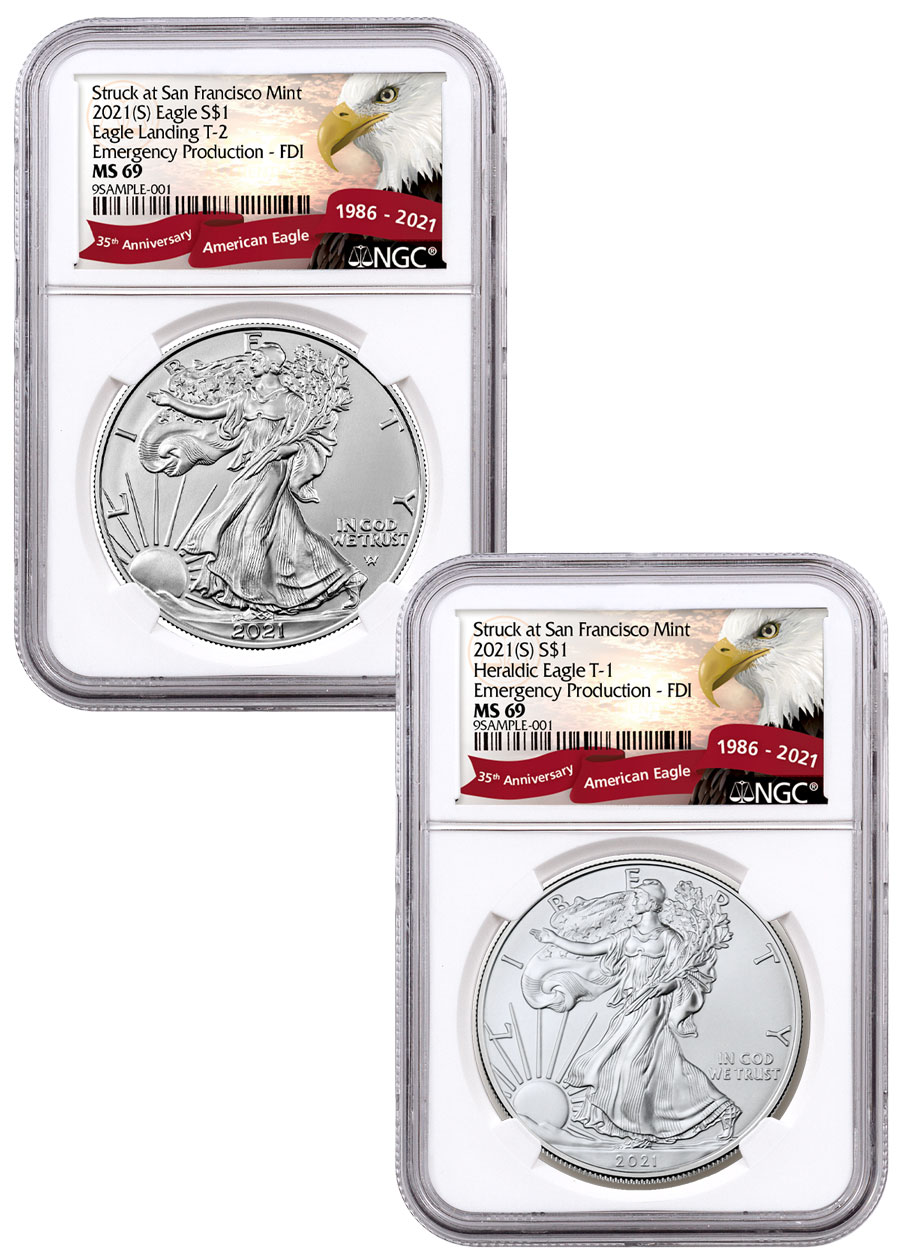 2-Coin Set - 2021-(S) American Silver Eagle Struck at San Francisco Mint Type 2 & Type 1 Set NGC MS69 Emergency Issue FDI Exclusive Eagle Label