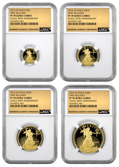 2016-W Proof American Gold Eagle - 4 Coin Set - NGC PF70 UC First Releases (Gold Foil Label)