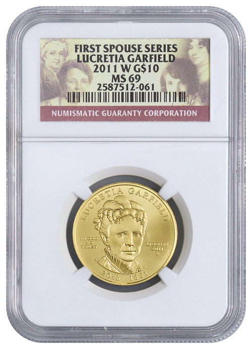 2011-W Lucretia Garfield First Spouse Gold $10 Coin NGC MS69