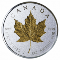 2019 Canada Incuse Silver Maple 1 oz. Gilt Reverse Proof $20 Coin