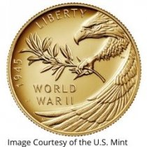 End of World War II 75th Anniversary 24 Karat Gold Coin and Silver Medal
