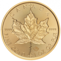 2019 Canada Incuse Gold Maple Leaf 1 oz. Gem BU $50 Coin