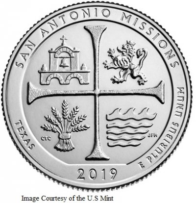 2019 5 oz. Silver ATB San Antonio Missions National Historic Park Coins