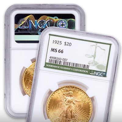Saint-Gaudens Gold Double Eagles with the NGC Green Label