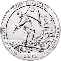 2016 5 oz. Silver America the Beautiful Quarter - Fort Moultrie