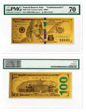 Replica Benjamin Franklin Design 1 g Gold Note PMG 70