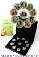 The Ten Commandments 10-coin Italian Lira set with colorized enamel in original packaging with certificate of authenticity
