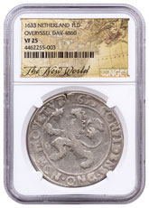 1633 Netherlands Silver 1 New York Lion Dollar NGC VF25 Exclusive New World Label