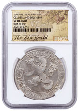 1640 Netherlands Silver 1 New York Lion Dollar NGC VF Exclusive New World Label