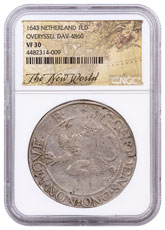 1643 Netherlands Silver 1 New York Lion Dollar NGC VF30 Exclusive New World Label