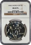 1994-D World Cup S$1 Dollar NGC MS69 PL Mint State 69 ProofLike