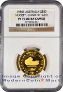 1986-P Australia 1/2 Oz Gold Nugget - Hand of Faith $50 NGC PF69 UC Proof 69 Ultra Cameo