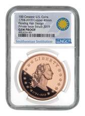 1794-2019 Copper - Smithsonian America's First Silver Dollar Proof Medal NGC GEM Proof Exclusive Smithsonian Label