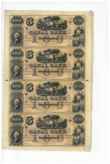 Uncut Sheet of 4 1800's $100 Obsolete Bank Note - Canal Bank of Louisiana