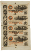 Uncut Sheet of 4 1800's $20 Obsolete Bank Note - Farmer's Bank of Kentucky