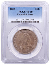 1806 Silver Draped Bust Half Dollar Pointed 6, Stem PCGS VF30
