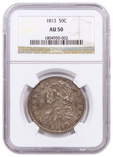 1813 Silver Capped Bust Half Dollar NGC AU50