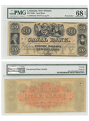 1840 $20 Obsolete Bank Note - Canal Bank of Louisiana PMG Superb Gem Unc 68 EPQ