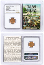 1863 United States Army & Navy Civil War Token NGC MS63 RB In Story Vault Holder
