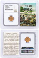 1863 United States Army & Navy Civil War Token NGC MS64 RB In Story Vault Holder