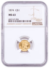1874 Indian Head (Type 3) Gold Dollar $1 NGC MS63