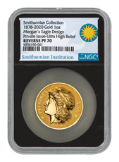 1878-2020 Smithsonian - Morgan's Gold Eagle Ultra High Relief 1 oz Gold Proof Medal Scarce and Unique Coin Division NGC PF70 UC Black Core Holder