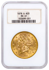 1878-S Liberty Head $20 Gold Double Eagle NGC MS61