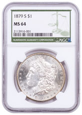 1879-S Morgan Silver Dollar NGC MS64 Green Label