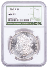 1880-S Morgan Silver Dollar NGC MS63 Green Label
