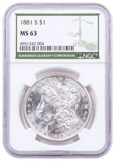 1881-S Morgan Silver Dollar NGC MS63 Green Label