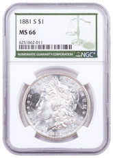 1881-S Morgan Silver Dollar NGC MS66 Green Label
