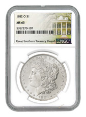 1882-O Morgan Silver Dollar NGC MS63 Great Southern Hoard Treasury Hoard Label