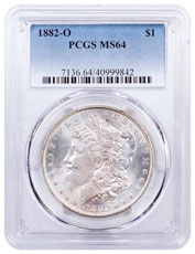 1882-O Morgan Silver Dollar PCGS MS64