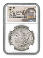 1885 Morgan Silver Dollar From the New York Bank Hoard NGC MS66
