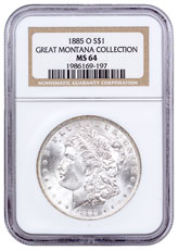 1885-O Morgan Silver Dollar From the Great Montana Collection NGC MS64
