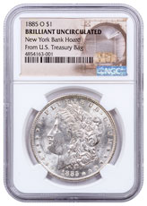 1885-O Morgan Silver Dollar From the New York Bank Hoard NGC BU