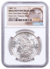 1887 Morgan Silver Dollar From the New York Bank Hoard NGC BU