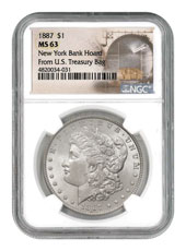 1887 Morgan Silver Dollar From the New York Bank Hoard NGC MS63