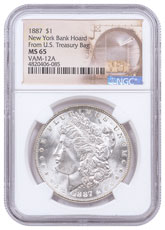 1887 Morgan Silver Dollar From the New York Bank Hoard NGC MS65 VAM-12A