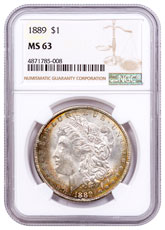 1889 Morgan Silver Dollar Toned NGC MS63 CPCR 5008