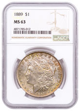 1889 Morgan Silver Dollar Toned NGC MS63 CPCR 5012