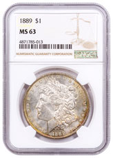 1889 Morgan Silver Dollar Toned NGC MS63 CPCR 5013