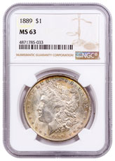1889 Morgan Silver Dollar Toned NGC MS63 CPCR 5033