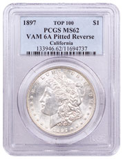 1897 Morgan Silver Dollar Top 100 PCGS MS62 VAM-6A Pitted Reverse California