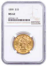 1899 Liberty Head $10 Gold Eagle Coronet Motto NGC MS62