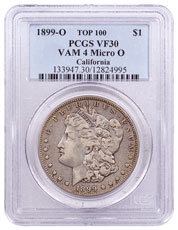 1899-O Morgan Silver Dollar Top 100 PCGS VF30 VAM-4 Micro O California