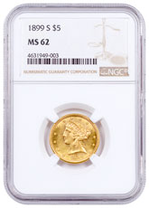 1899-S $5 Gold Liberty Head NGC MS62