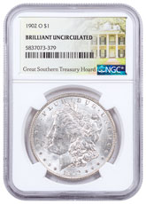 1902-O Morgan Silver Dollar NGC BU Great Southern Hoard Treasury Hoard Label