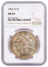 1902-O Morgan Silver Dollar Toned NGC MS63 CPCR 5034
