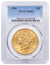 1904 Liberty Head $20 Gold Double Eagle Coronet Type 3 PCGS MS62